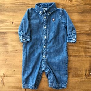 Ralph Lauren Polo denim chambray infant one piece